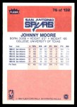 1986 Fleer #76  Johnny Moore  Back Thumbnail