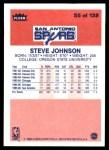 1986 Fleer #55  Steve Johnson  Back Thumbnail