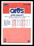 1986 Fleer #5  John Bagley  Back Thumbnail
