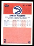 1986 Fleer #127  Randy Wittman  Back Thumbnail