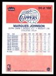 1986 Fleer #54  Marques Johnson  Back Thumbnail