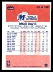 1986 Fleer #22  Brad Davis  Back Thumbnail