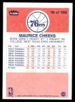 1986 Fleer #16  Maurice Cheeks  Back Thumbnail