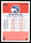 1986 Fleer #94  Tree Rollins  Back Thumbnail