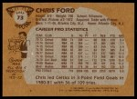 1981 Topps #73 E Chris Ford  Back Thumbnail