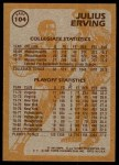 1981 Topps #104 E  -  Julius Erving Super Action Back Thumbnail