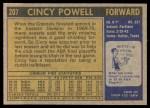 1971 Topps #207  Cincy Powell  Back Thumbnail