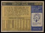 1971 Topps #111  Leroy Ellis  Back Thumbnail