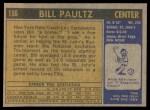 1971 Topps #156  Billy Paultz  Back Thumbnail