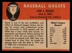 1961 Fleer #72  Eddie Roush  Back Thumbnail
