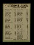 1971 Topps #71   -  Bob Johnson / Mickey Lolich / Sam McDowell AL Strikeout Leaders Back Thumbnail