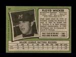 1971 Topps #97  Floyd Wicker  Back Thumbnail