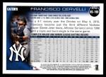 2010 Topps Update #198  Francisco Cervelli  Back Thumbnail
