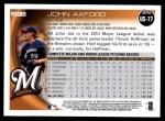 2010 Topps Update #77  John Axford  Back Thumbnail