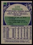 1975 Topps #25  Lou Hudson  Back Thumbnail