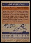 1972 Topps #39  Mike Davis   Back Thumbnail