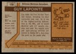 1973 Topps #170  Guy Lapointe   Back Thumbnail