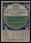 1975 Topps #253  James Silas  Back Thumbnail