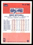 1986 Fleer #74  Mike Mitchell  Back Thumbnail