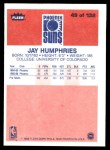 1986 Fleer #49  Jay Humphries  Back Thumbnail