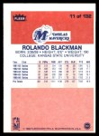 1986 Fleer #11  Rolando Blackman  Back Thumbnail