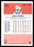 1986 Fleer #102  Jack Sikma  Back Thumbnail