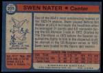 1974 Topps #205  Steve Nater  Back Thumbnail