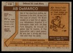 1973 Topps #118  Ab DeMarco   Back Thumbnail