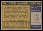 1971 Topps #174  Julian Hammond  Back Thumbnail