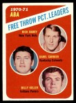 1971 Topps #149   -  Rick Barry / Billy Keller / Darrel Carrier ABA Free Throw % Leaders Front Thumbnail