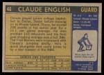 1971 Topps #46  Claude English   Back Thumbnail