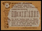 1981 Topps #24  Marques Johnson  Back Thumbnail