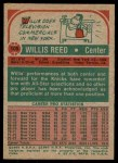 1973 Topps #105  Willis Reed  Back Thumbnail