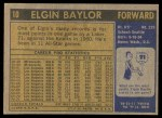 1971 Topps #10  Elgin Baylor   Back Thumbnail