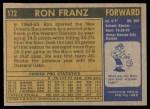 1971 Topps #172  Ron Franz  Back Thumbnail