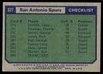 1975 Topps #327   San Antonio Spurs Back Thumbnail