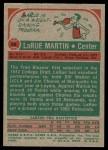 1973 Topps #89  Larue Martin  Back Thumbnail