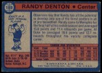 1974 Topps #189  Randy Denton  Back Thumbnail