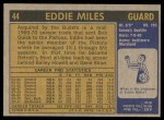 1971 Topps #44  Eddie Miles   Back Thumbnail