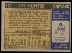 1971 Topps #157  Les Hunter  Back Thumbnail
