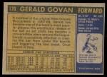 1971 Topps #176  Gerald Govan  Back Thumbnail