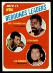 1971 Topps #142   -  Lew Alcindor / Wilt Chamberlain / Elvin Hayes NBA Rebounds Leaders Front Thumbnail