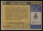 1971 Topps #229  Vann Williford  Back Thumbnail