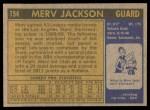 1971 Topps #154  Merv Jackson  Back Thumbnail