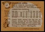 1981 Topps #67 E Charlie Criss  Back Thumbnail