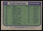 1975 Topps #219   Seattle SuperSonics Back Thumbnail