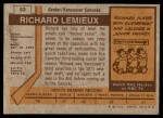 1973 Topps #53  Richard Lemieux   Back Thumbnail