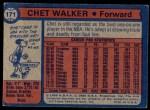 1974 Topps #171  Chet Walker  Back Thumbnail