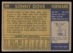 1971 Topps #209  Sonny Dove  Back Thumbnail