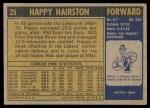 1971 Topps #25  Happy Hairston   Back Thumbnail